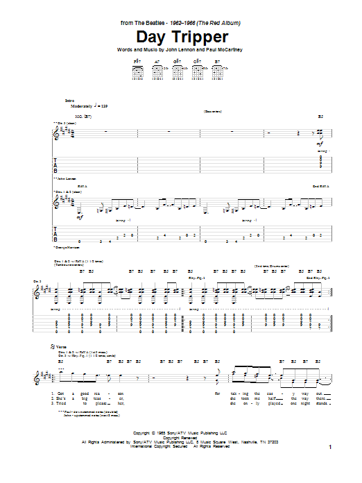 Tablature guitare Day Tripper de The Beatles - Tablature Guitare