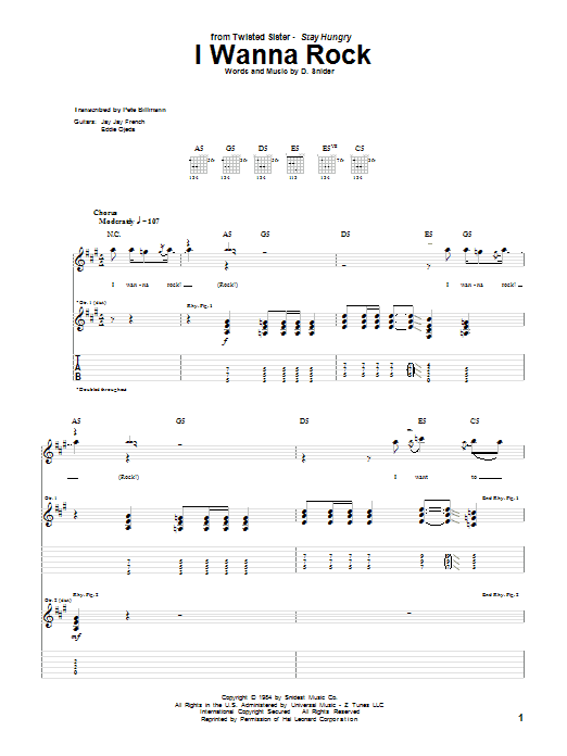 Tablature guitare I Wanna Rock de Twisted Sister - Tablature Guitare