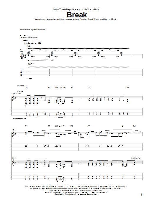 Break Guitar Tab by Three Days Grace (Guitar Tab u2013 73099)