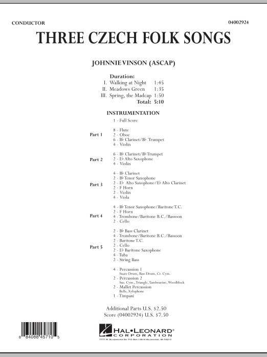 Three Czech Folk Songs (COMPLETE) sheet music for concert band by Johnnie Vinson