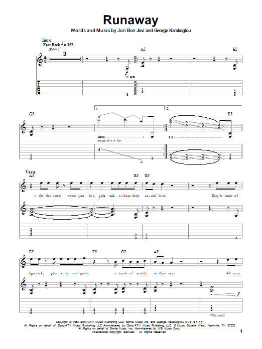 Tablature guitare Runaway de Bon Jovi - Tablature Guitare