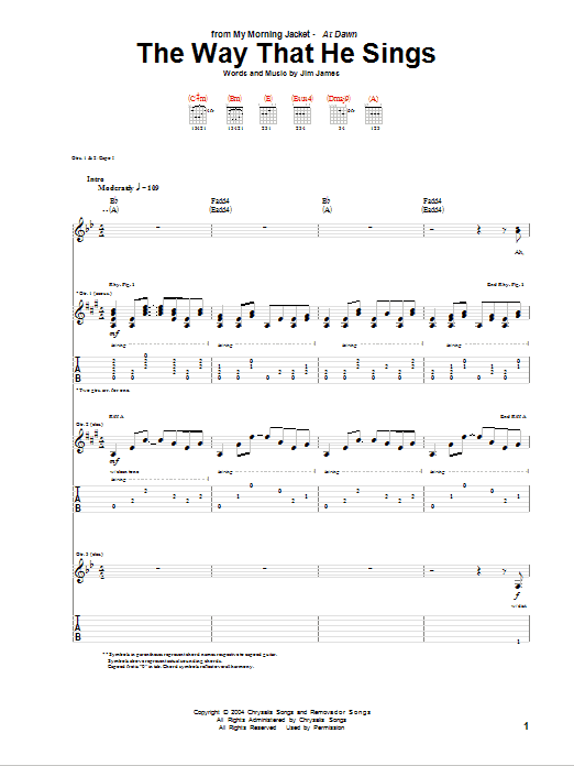 Tablature guitare The Way That He Sings de My Morning Jacket - Tablature Guitare