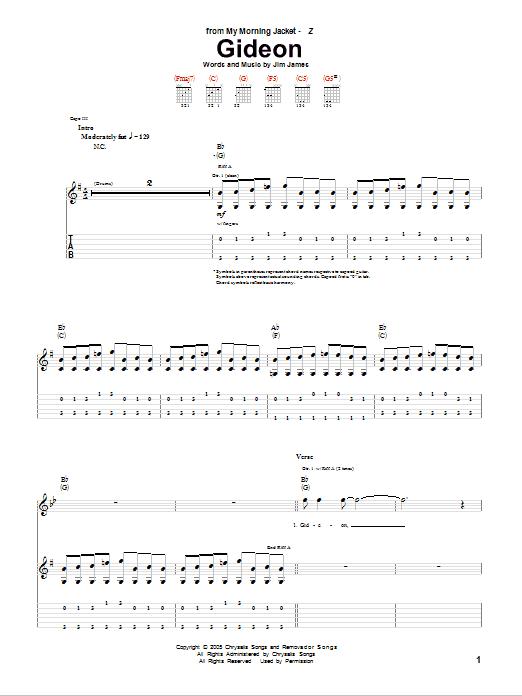 Tablature guitare Gideon de My Morning Jacket - Tablature Guitare