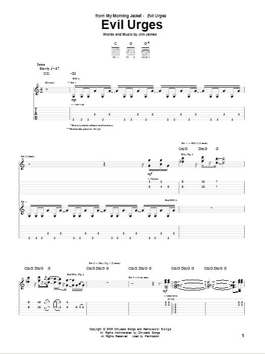 Tablature guitare Evil Urges de My Morning Jacket - Tablature Guitare