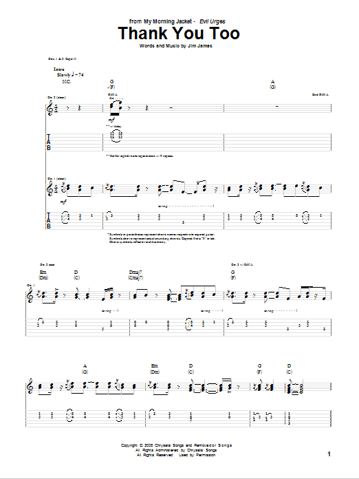 Tablature guitare Thank You Too de My Morning Jacket - Tablature Guitare