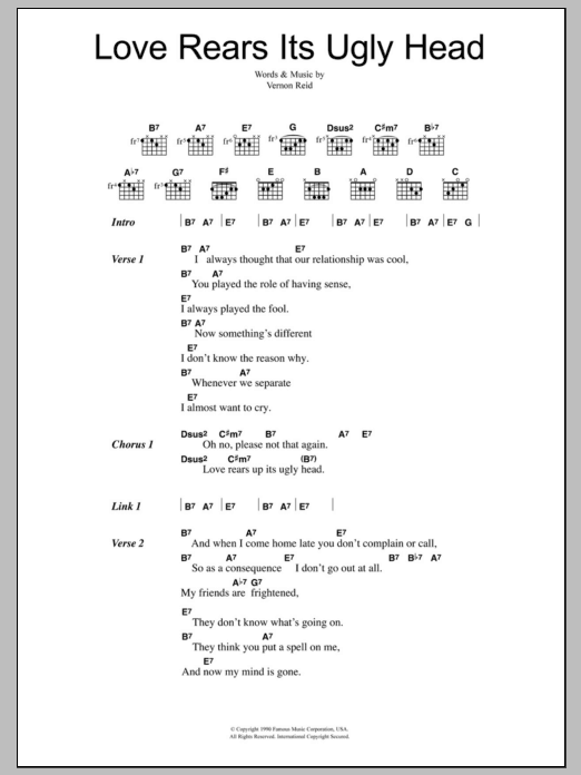 Love Rears Its Ugly Head sheet music for guitar solo (chords, lyrics, melody) by Vernon Reid