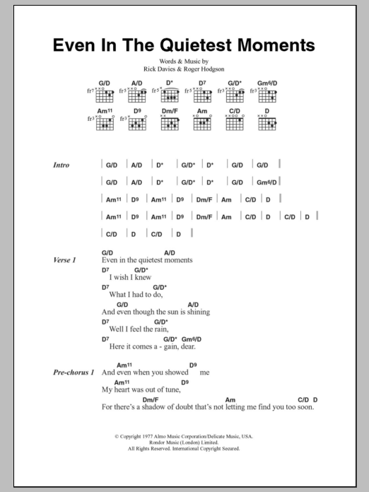 Even In The Quietest Moments sheet music for guitar solo (chords, lyrics, melody) by Roger Hodgson