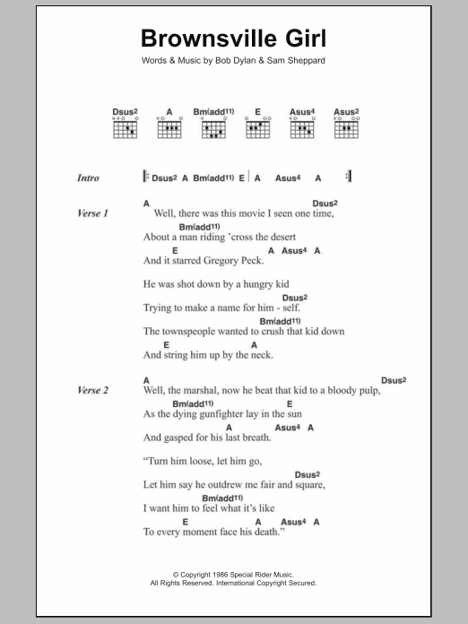 Brownsville Girl sheet music for guitar solo (chords, lyrics, melody) by Sam Sheppard