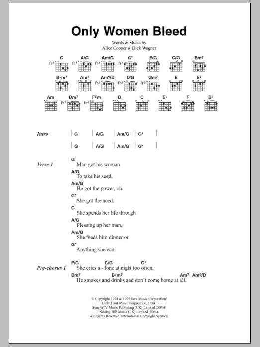 Alice Cooper - Only Women Bleed Lyrics | MetroLyrics