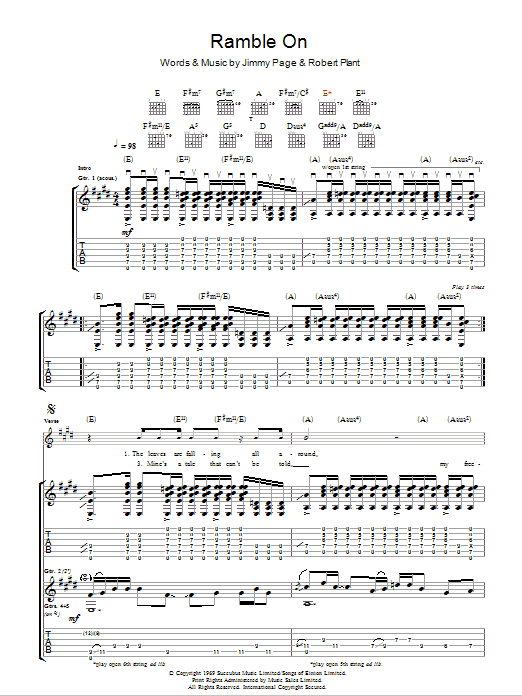 Ramble On sheet music for guitar solo (tablature) by Robert Plant