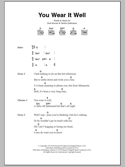 You Wear It Well sheet music for guitar solo (chords, lyrics, melody) by Martin Quittenton