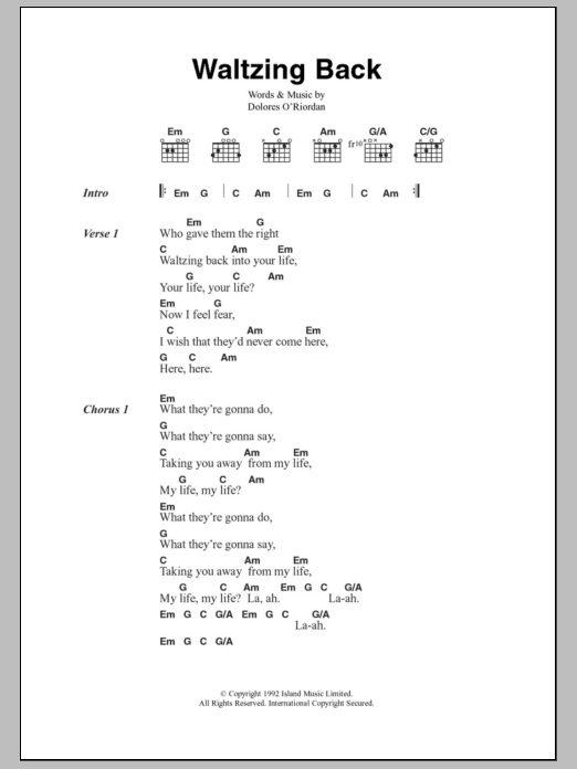 Waltzing Back sheet music for guitar solo (chords, lyrics, melody) by Dolores O'Riordan