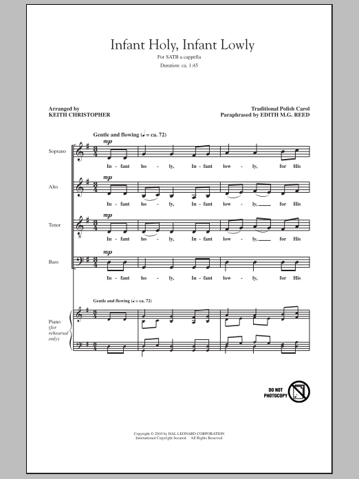 Infant Holy, Infant Lowly sheet music for choir and piano (SATB)