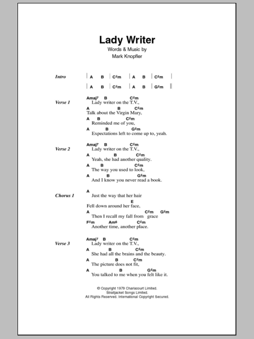 Lady Writer sheet music for guitar solo (chords, lyrics, melody) by Mark Knopfler