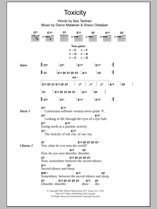 Toxicity sheet music for guitar solo (chords, lyrics, melody) by Shavo Odadjian