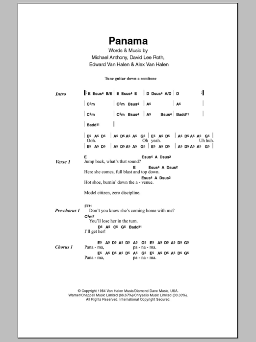Panama sheet music for guitar solo (chords, lyrics, melody) by Michael Anthony
