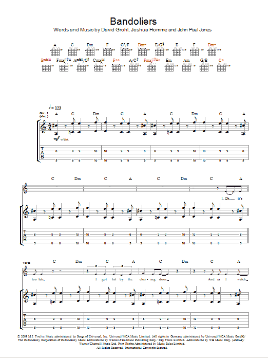 Bandoliers sheet music for guitar solo (tablature) by Josh Homme