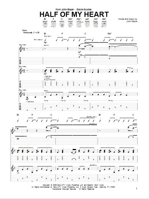 Tablature guitare Half Of My Heart de John Mayer featuring Taylor Swift - Tablature Guitare