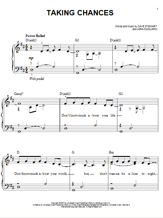 Taking Chances sheet music for piano solo (chords) by Dave Stewart