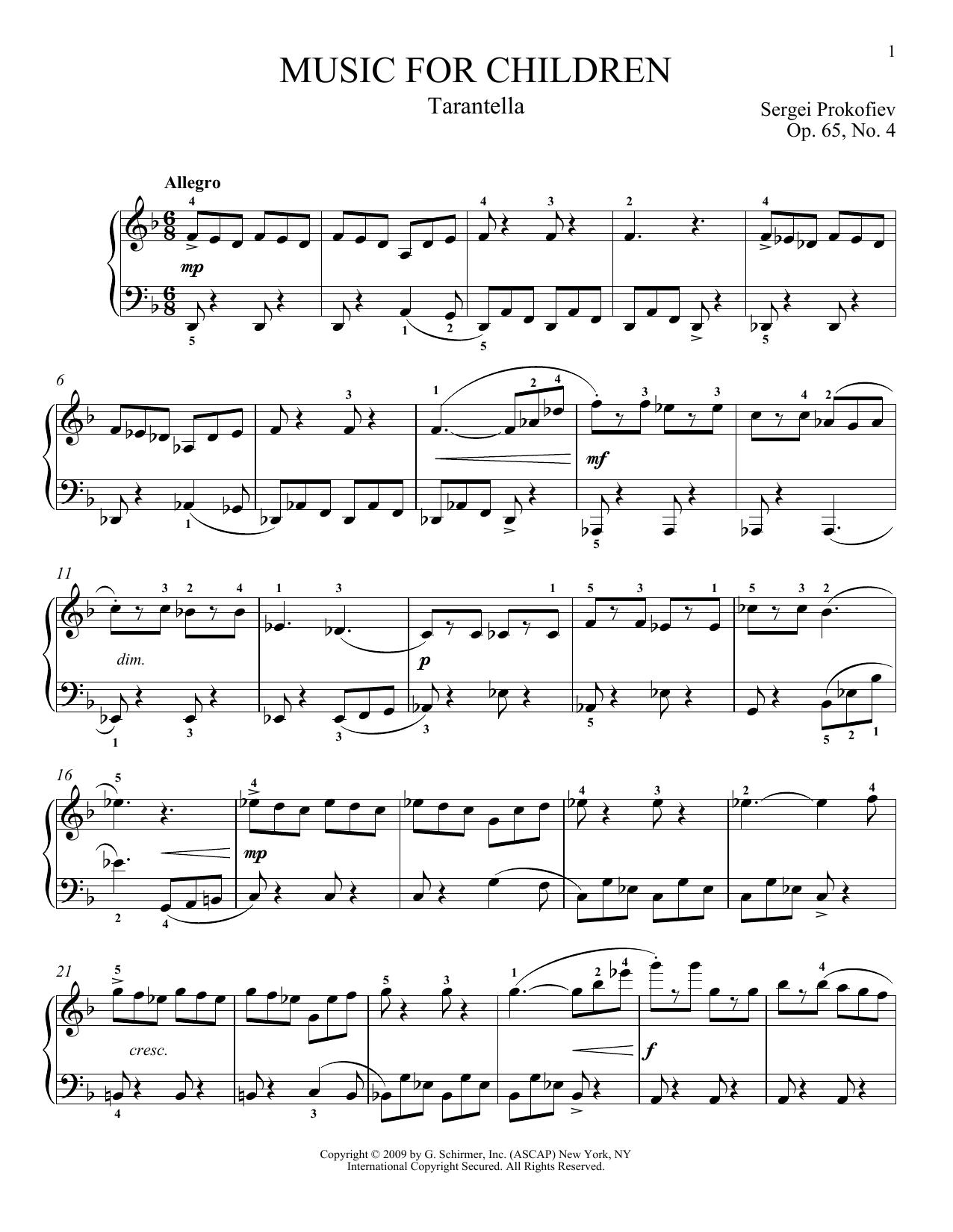 Partition piano Tarantella de Sergei Prokofiev - Piano Solo