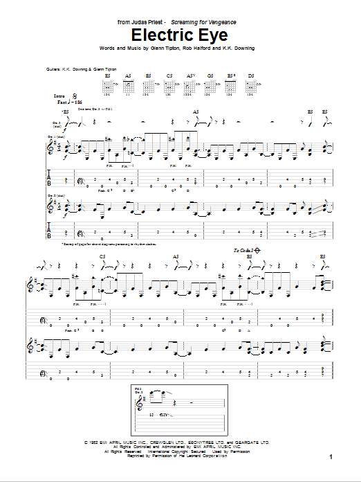 Electric Eye sheet music for guitar solo (tablature) by Rob Halford