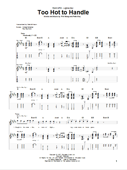 Tablature guitare Too Hot To Handle de UFO - Tablature Guitare