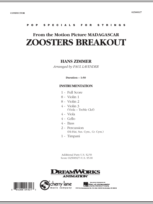 Zoosters Breakout (from Madagascar) (COMPLETE) sheet music for orchestra by Paul Lavender
