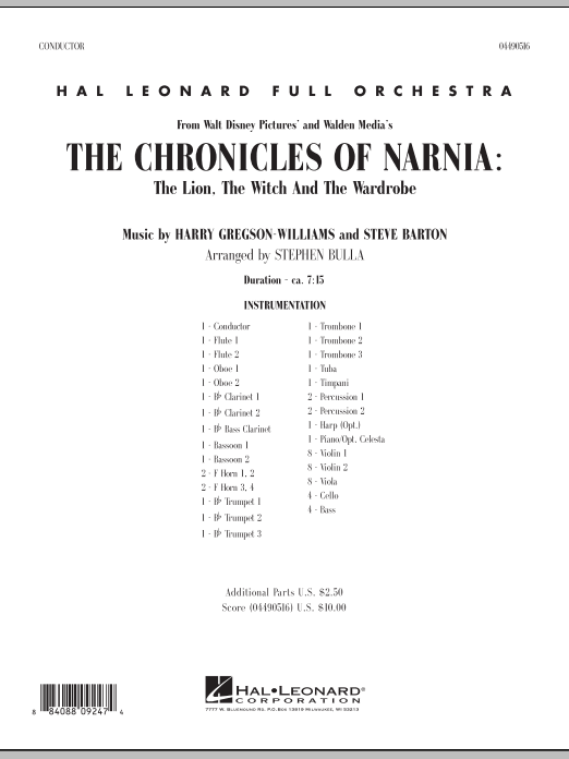 Music from The Chronicles Of Narnia: The Lion, The Witch And The Wardrobe (COMPLETE) sheet music for full orchestra by Stephen Bulla