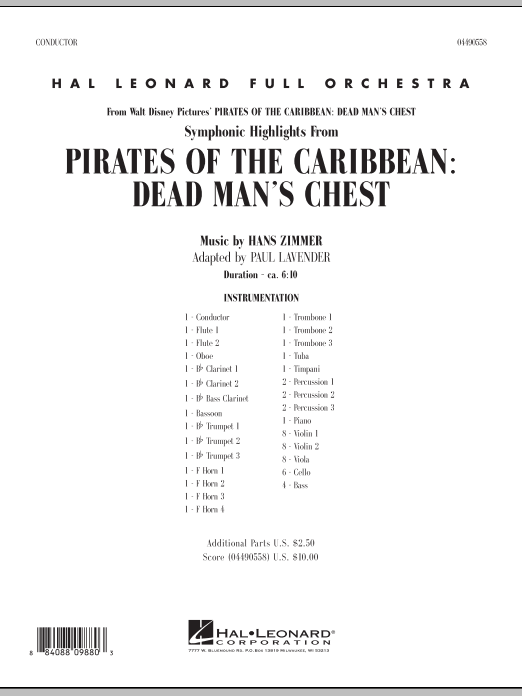 Soundtrack Highlights from Pirates Of The Caribbean: Dead Man's Chest (COMPLETE) sheet music for full orchestra by Paul Lavender