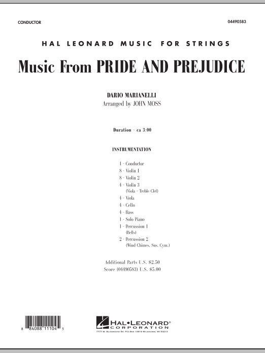Music from Pride and Prejudice (COMPLETE) sheet music for orchestra by John Moss