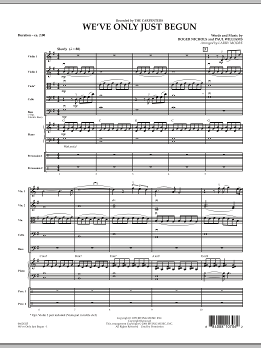 We've Only Just Begun (COMPLETE) sheet music for orchestra by Larry Moore