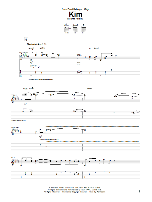 Tablature guitare Kim de Brad Paisley - Tablature Guitare