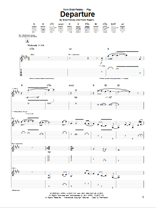 Departure sheet music for guitar solo (tablature) by Frank Rogers