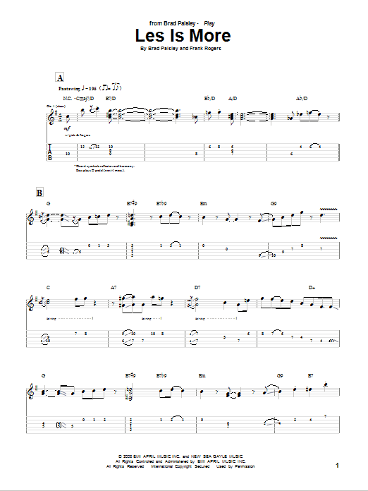 Les Is More sheet music for guitar solo (tablature) by Frank Rogers