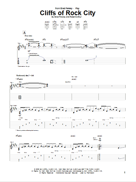 Cliffs Of Rock City sheet music for guitar solo (tablature) by Robert Arthur