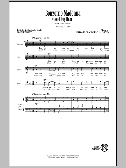 Bonzorno Madonna (Good Day Dear) sheet music for choir and piano (SATB) by Antonio Scandello
