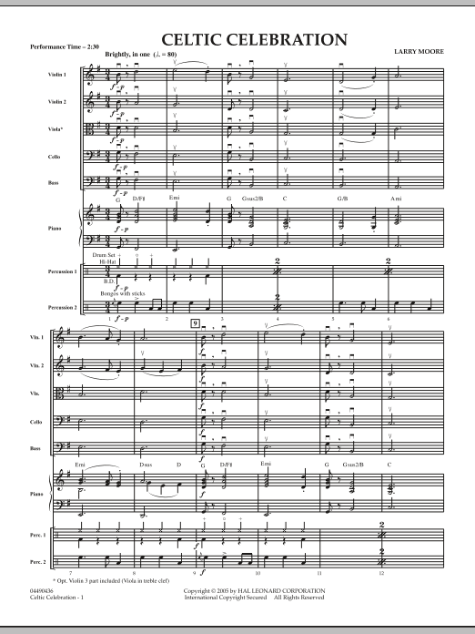 Celtic Celebration (COMPLETE) sheet music for orchestra by Larry Moore