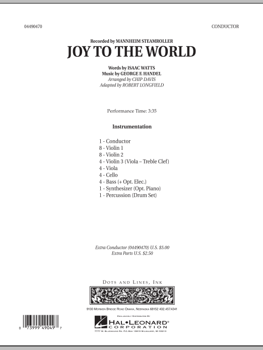 Joy To The World sheet music for orchestra (full score) by Robert Longfield
