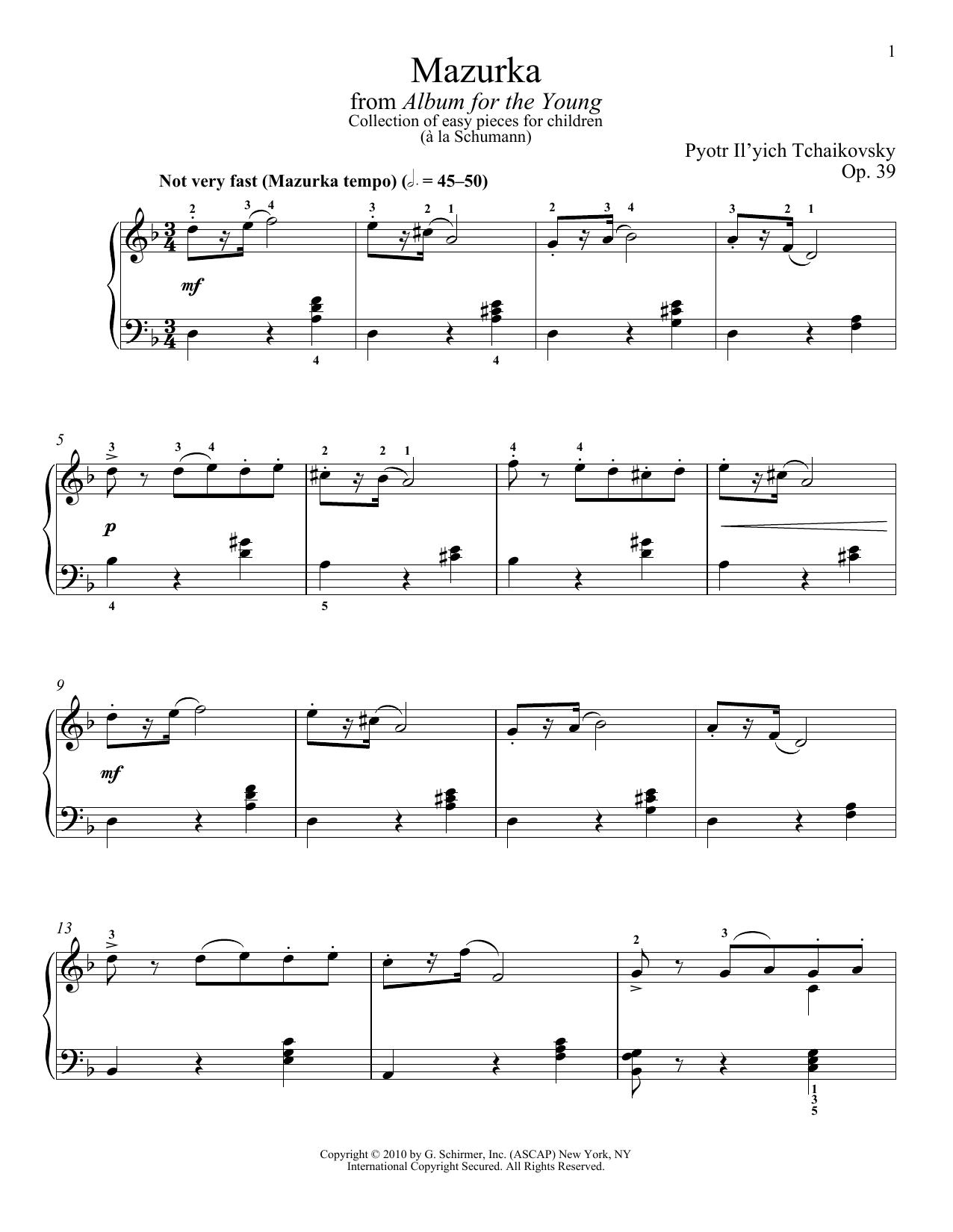 Partition piano Mazurka de Pyotr Il'yich Tchaikovsky - Piano Solo