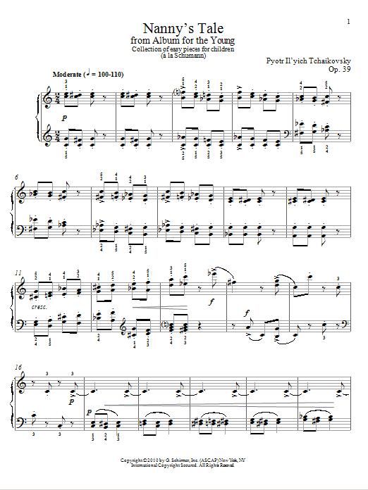 Partition piano Nanny's Tale de Pyotr Il'yich Tchaikovsky - Piano Solo