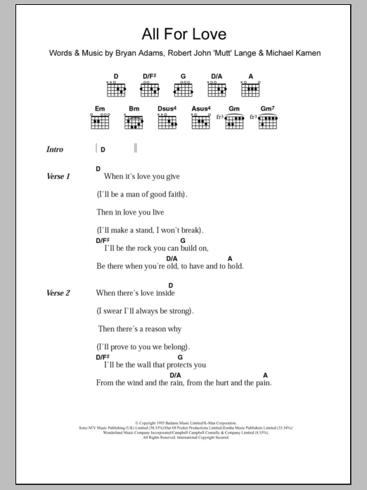 All For Love sheet music for guitar solo (chords, lyrics, melody) by Robert John Lange