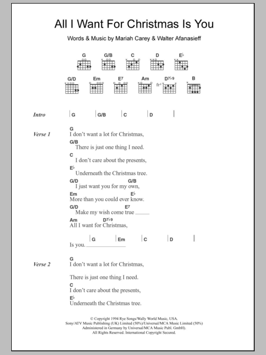 All I Want For Christmas Is You sheet music for guitar solo (chords, lyrics, melody) by Walter Afanasieff