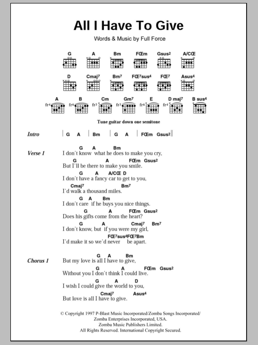 All I Have To Give sheet music for guitar solo (chords, lyrics, melody) by Full Force
