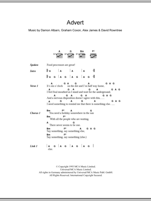Advert sheet music for guitar solo (chords, lyrics, melody) by Graham Coxon