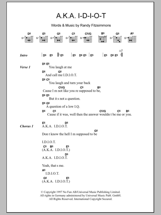A.K.A. I-D-I-O-T sheet music for guitar solo (chords, lyrics, melody) by Randy Fitzsimmons