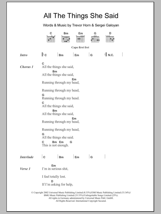 All The Things She Said sheet music for guitar solo (chords, lyrics, melody) by Trevor Horn