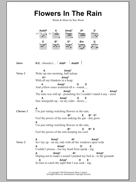 Flowers In The Rain sheet music for guitar solo (chords, lyrics, melody) by Roy Wood