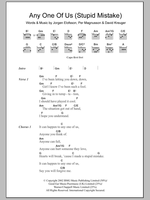 Anyone Of Us (Stupid Mistake) sheet music for guitar solo (chords, lyrics, melody) by Per Magnusson
