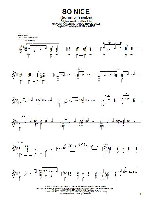 Tablature guitare So Nice (Summer Samba) de Marcos Valle - Tablature Guitare