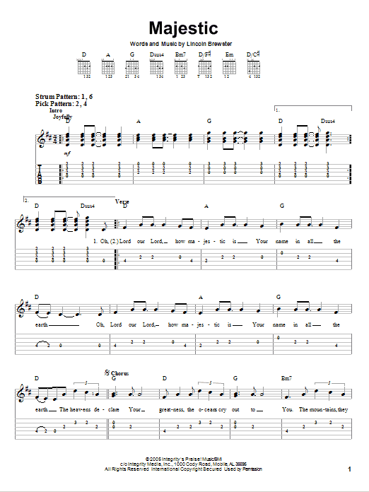 Majestic By Lincoln Brewster Easy Guitar Tab Guitar